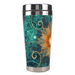 Beautiful Tangerine Orange And Teal Lotus Fractals Stainless Steel Travel Tumblers by jayaprime
