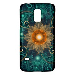 Beautiful Tangerine Orange And Teal Lotus Fractals Galaxy S5 Mini by jayaprime
