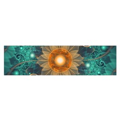 Beautiful Tangerine Orange And Teal Lotus Fractals Satin Scarf (oblong) by jayaprime