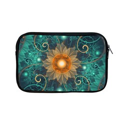 Beautiful Tangerine Orange And Teal Lotus Fractals Apple Macbook Pro 13  Zipper Case by jayaprime