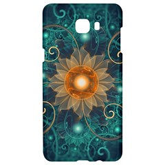 Beautiful Tangerine Orange And Teal Lotus Fractals Samsung C9 Pro Hardshell Case  by jayaprime