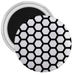 Hexagon2 Black Marble & White Linen 3  Magnets by trendistuff