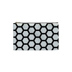 Hexagon2 Black Marble & White Linen Cosmetic Bag (small)  by trendistuff