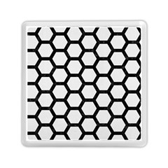 Hexagon2 Black Marble & White Linen Memory Card Reader (square)  by trendistuff