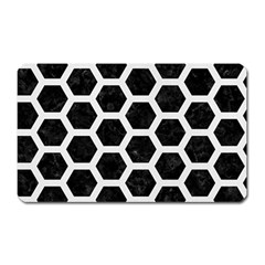 Hexagon2 Black Marble & White Linen (r) Magnet (rectangular) by trendistuff