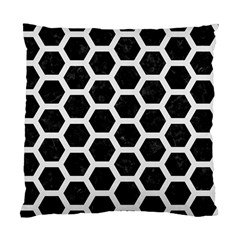 Hexagon2 Black Marble & White Linen (r) Standard Cushion Case (one Side) by trendistuff