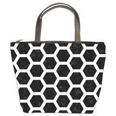 Hexagon2 Black Marble & White Linen (r) Bucket Bags by trendistuff