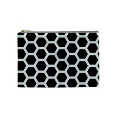 Hexagon2 Black Marble & White Linen (r) Cosmetic Bag (medium)  by trendistuff