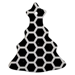 Hexagon2 Black Marble & White Linen (r) Ornament (christmas Tree)  by trendistuff