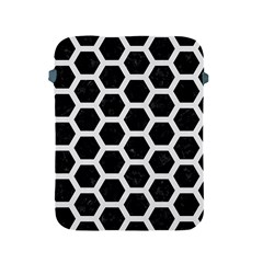 Hexagon2 Black Marble & White Linen (r) Apple Ipad 2/3/4 Protective Soft Cases by trendistuff