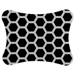 Hexagon2 Black Marble & White Linen (r) Jigsaw Puzzle Photo Stand (bow) by trendistuff