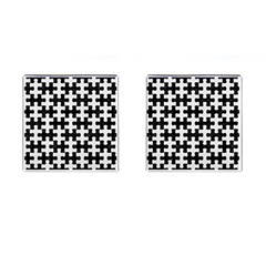 Puzzle1 Black Marble & White Linen Cufflinks (square)
