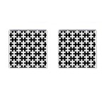 PUZZLE1 BLACK MARBLE & WHITE LINEN Cufflinks (Square) Front(Pair)