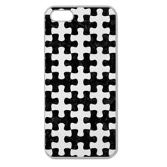 Puzzle1 Black Marble & White Linen Apple Seamless Iphone 5 Case (clear) by trendistuff