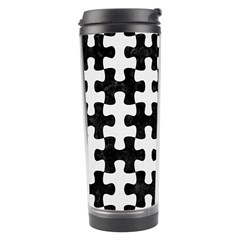 Puzzle1 Black Marble & White Linen Travel Tumbler by trendistuff