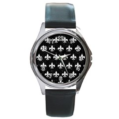 ROYAL1 BLACK MARBLE & WHITE LINEN Round Metal Watch