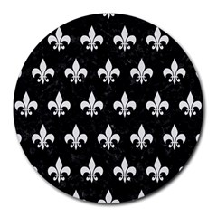 ROYAL1 BLACK MARBLE & WHITE LINEN Round Mousepads