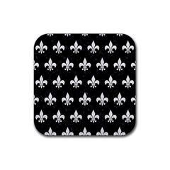 Royal1 Black Marble & White Linen Rubber Coaster (square)  by trendistuff