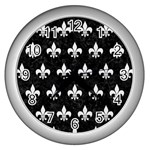 ROYAL1 BLACK MARBLE & WHITE LINEN Wall Clocks (Silver)  Front