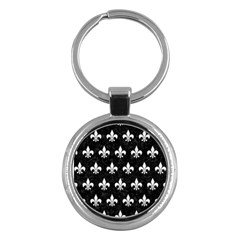 ROYAL1 BLACK MARBLE & WHITE LINEN Key Chains (Round)