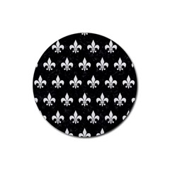 ROYAL1 BLACK MARBLE & WHITE LINEN Rubber Coaster (Round)