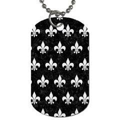ROYAL1 BLACK MARBLE & WHITE LINEN Dog Tag (Two Sides)