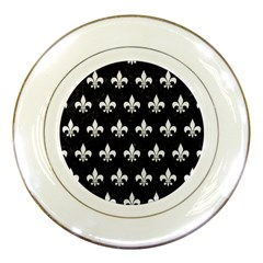 Royal1 Black Marble & White Linen Porcelain Plates by trendistuff
