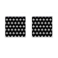 ROYAL1 BLACK MARBLE & WHITE LINEN Cufflinks (Square)