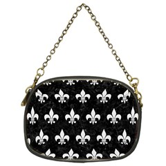 ROYAL1 BLACK MARBLE & WHITE LINEN Chain Purses (One Side)