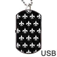 ROYAL1 BLACK MARBLE & WHITE LINEN Dog Tag USB Flash (Two Sides)