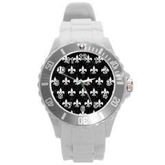 ROYAL1 BLACK MARBLE & WHITE LINEN Round Plastic Sport Watch (L)
