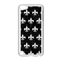 ROYAL1 BLACK MARBLE & WHITE LINEN Apple iPod Touch 5 Case (White)