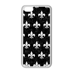 ROYAL1 BLACK MARBLE & WHITE LINEN Apple iPhone 5C Seamless Case (White)