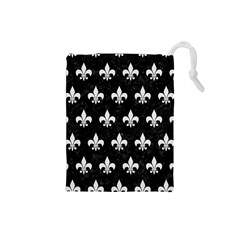 ROYAL1 BLACK MARBLE & WHITE LINEN Drawstring Pouches (Small)
