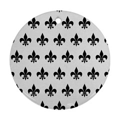 Royal1 Black Marble & White Linen (r) Ornament (round) by trendistuff