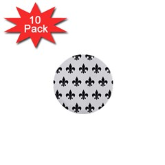 Royal1 Black Marble & White Linen (r) 1  Mini Buttons (10 Pack)  by trendistuff