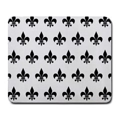 Royal1 Black Marble & White Linen (r) Large Mousepads by trendistuff