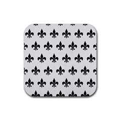 Royal1 Black Marble & White Linen (r) Rubber Coaster (square)  by trendistuff