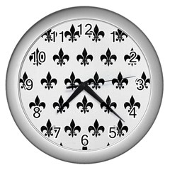 Royal1 Black Marble & White Linen (r) Wall Clocks (silver)  by trendistuff