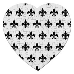 Royal1 Black Marble & White Linen (r) Jigsaw Puzzle (heart) by trendistuff