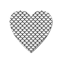 Scales1 Black Marble & White Linen Heart Magnet by trendistuff