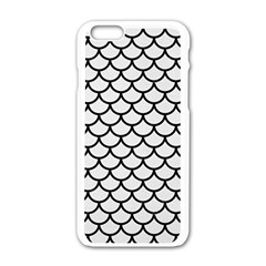 Scales1 Black Marble & White Linen Apple Iphone 6/6s White Enamel Case by trendistuff