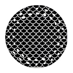 Scales1 Black Marble & White Linen (r) Ornament (round Filigree) by trendistuff