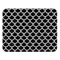Scales1 Black Marble & White Linen (r) Double Sided Flano Blanket (large)  by trendistuff