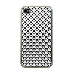 Scales2 Black Marble & White Linen Apple Iphone 4 Case (clear) by trendistuff