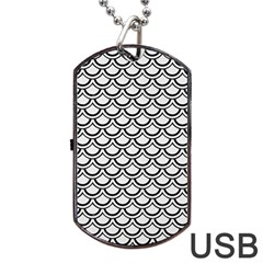 Scales2 Black Marble & White Linen Dog Tag Usb Flash (one Side) by trendistuff