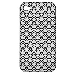 Scales2 Black Marble & White Linen Apple Iphone 4/4s Hardshell Case (pc+silicone)