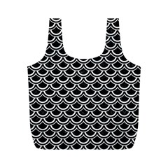 Scales2 Black Marble & White Linen (r) Full Print Recycle Bags (m)  by trendistuff