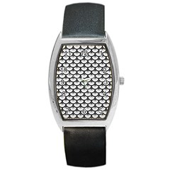 Scales3 Black Marble & White Linen Barrel Style Metal Watch by trendistuff
