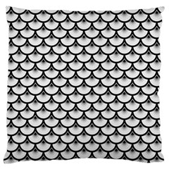 Scales3 Black Marble & White Linen Large Flano Cushion Case (two Sides) by trendistuff
